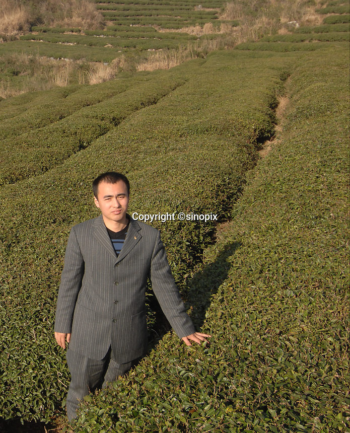 "He Meng Miao, 28, manager of the The Heng Yuan Chun Tea Farm in the mountains outside Fuding City, Fujian Province where ""Silver Tip"" tea is produced.  Workers here are paid around 53 pounds a month during harvest season. The tea sells for upto 20 pounds a pot in the UK."