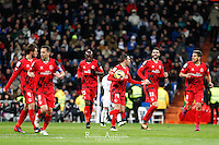 Sevilla´s players celebrate the goal of Iago Aspas