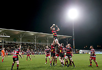 Dominic Bird takes lineout ball during the Mitre 10 Cup Premiership and Ranfurly Shield match between Canterbury and Counties Manukau at AMI Stadium in Christchurch, New Zealand on Wednesday, 13 September 2017. Photo: Martin Hunter / lintottphoto.co.nz