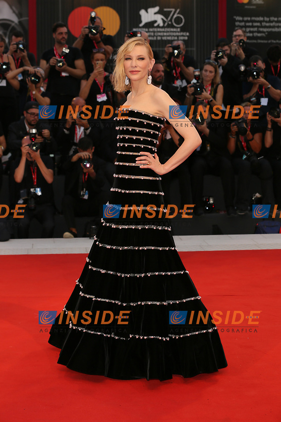 VENICE, ITALY - AUGUST 31: Cate Blanchett walks the red carpet ahead of the Joker premiere during the 76th Venice Film Festival at Sala Grande on August 31, 2019 in Venice, Italy. (Photo by Marck Cape/Getty Images)<br /> Venezia 31/08/2019