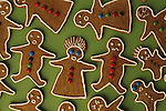 Gingerbread cookies with mad/angry/confused faces, reacting to the hectic pace at Christmas/Holiday times, focus on faces, Marysville, Washington State USA