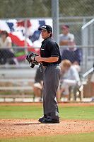 Umpire Mike Savakinas during an Indiana Hoosiers game against the Seton Hall Pirates on March 5, 2016 at North Charlotte Regional Park in Port Charlotte, Florida.  Seton Hall defeated Indiana 6-4.  (Mike Janes/Four Seam Images)3