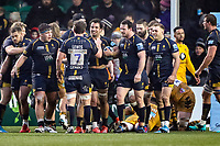 25th January 2020; Sixways Stadium, Worcester, Worcestershire, England; Premiership Rugby, Worcester Warriors versus Wasps; The Worcester Warriors team congratulate Marco Mama for scoring a try at the end of the first half for a 13-5 lead after the conversion