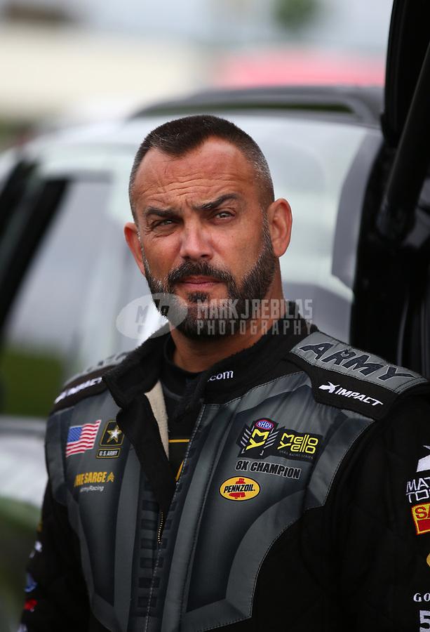 May 21, 2018; Topeka, KS, USA; NHRA top fuel driver Tony Schumacher during the Heartland Nationals at Heartland Motorsports Park. Mandatory Credit: Mark J. Rebilas-USA TODAY Sports