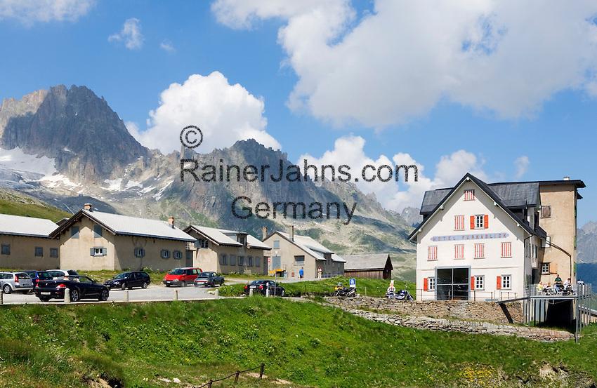 Switzerland, Canton Valais, Hotel Furkablick at Furka Pass Road - border between cantones Valais and Uri