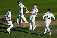 Picture by Alex Whitehead/SWpix.com - 22/04/2018 - Cricket - Specsavers County Championship Div One - Yorkshire v Nottinghamshire, Day 3 - Emerald Headingley Stadium, Leeds, England - Yorkshire's Josh Shaw celebrates after taking the wicket of Notts' Riki Wessels.