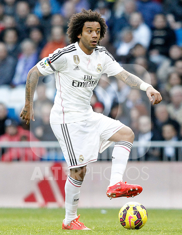 Real Madrid's Marcelo Vieira during La Liga match.January 31,2015. (ALTERPHOTOS/Acero)