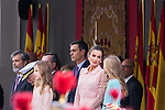 (L to R) Princess Leonor of Asturias, President Pedro Sanchez, Queen Letizia of Spain and Infant Sofia during the Military parade because of the Spanish National Holiday. October 12, 2019.. (ALTERPHOTOS/ Francis Gonzalez)