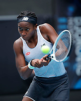 26th January 2020; Melbourne Park, Melbourne, Victoria, Australia; Australian Open Tennis, Day 7; Coco Gauff of USA returns during a match against Sofia Kenin of USA