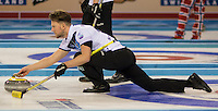 Glasgow. SCOTLAND. Scotland's Ross PATERSON, guides his &quot;Stone' as he approaches the &quot;Hog Line&quot; at the Le Gruy&egrave;re European Curling Championships. 2016 Venue, Braehead  Scotland<br /> Sunday  20/11/2016<br /> <br /> [Mandatory Credit; Peter Spurrier/Intersport-images]