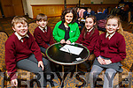 Knockaderry School NS students taking part in the Cara Credit Union Quiz in the Brandon Hotel on Sunday. <br /> L to r: James Barry, John Henderson, Siobhan Donnelly (Cara Credit Union), Laura O&rsquo;Sullivan and Ciara Flynn.