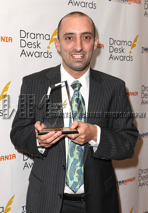Tom Edden.in the winners press room at the 57th Annual Drama Desk Awards held at the The Town Hall in New York City, NY on June 3, 2012.