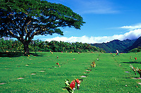 Grave sites at Punchbowl Memorial on the Island of Oahu