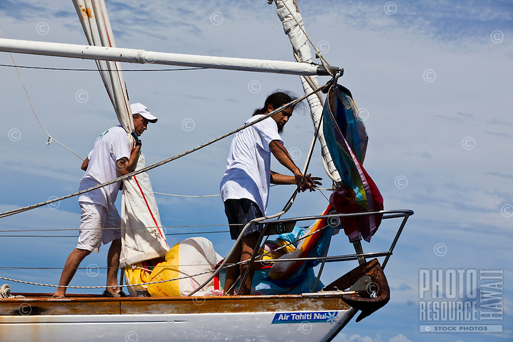 Yachts racing in the first leg of the Tahiti Pearl Regatta, from Raiatea to Bora Bora