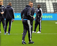Jamie Vardy of Leicester City with team mates before the Barclays Premier League match between Swansea City and Leicester City at the Liberty Stadium, Swansea on December 05 2015