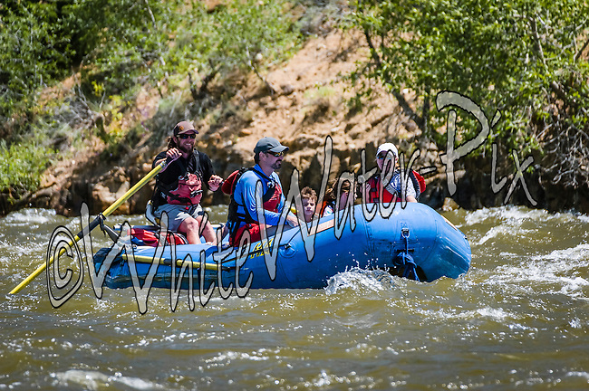 Bucking Rainbow Outfitters crashing Cable Rapid while floating the Upper Colorado River from Rancho Del Rio to Two Bridges on the morning of June 23, 2015.