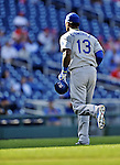 19 September 2012: Los Angeles Dodgers shortstop Hanley Ramirez returns to the dugout during a game against the Washington Nationals at Nationals Park in Washington, DC. The Nationals defeated the Dodgers 3-1 in the first game of their double-header. Mandatory Credit: Ed Wolfstein Photo