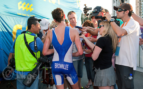 12 SEP 2009 - SOUTHPORT, AUS - Alistair Brownlee (GBR) talks to reporters after winning the Elite Mens ITU World Triathlon Championship Series Final and the series overall (PHOTO (C) NIGEL FARROW)