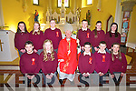 Pupils of Kilmoyley NS Front l-r Evan Griffin, Cira Casey, Alan Horgan, Liam Flaherty, Brid Horan, Back l-r Mary McCarthy, Saoirse Sheehy, Cian Regan, David Godley, Aoife Godley, Eimear Kerins  were confirmed at the Sacred Heart, Kilmoyley by the Bishop of Kerry Ray Brown on Tuesday