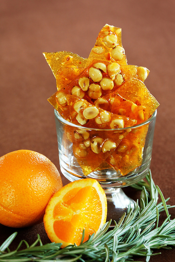 Hazelnut, rosemary and orange brittle in a bowl, by pastry chef Laurie Pfalzer, Pastry Craft