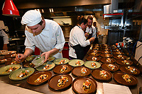 MELBOURNE, 30 June 2017 – A chef prepares a dish by Stuart Bell of Red Hill goats cheese, pickled mushrooms, pumpkin, freekeh & hazelnuts at a dinner celebrating Philippe Mouchel's 25 years in Australia with six chefs who worked with him in the past at Philippe Restaurant in Melbourne, Australia.