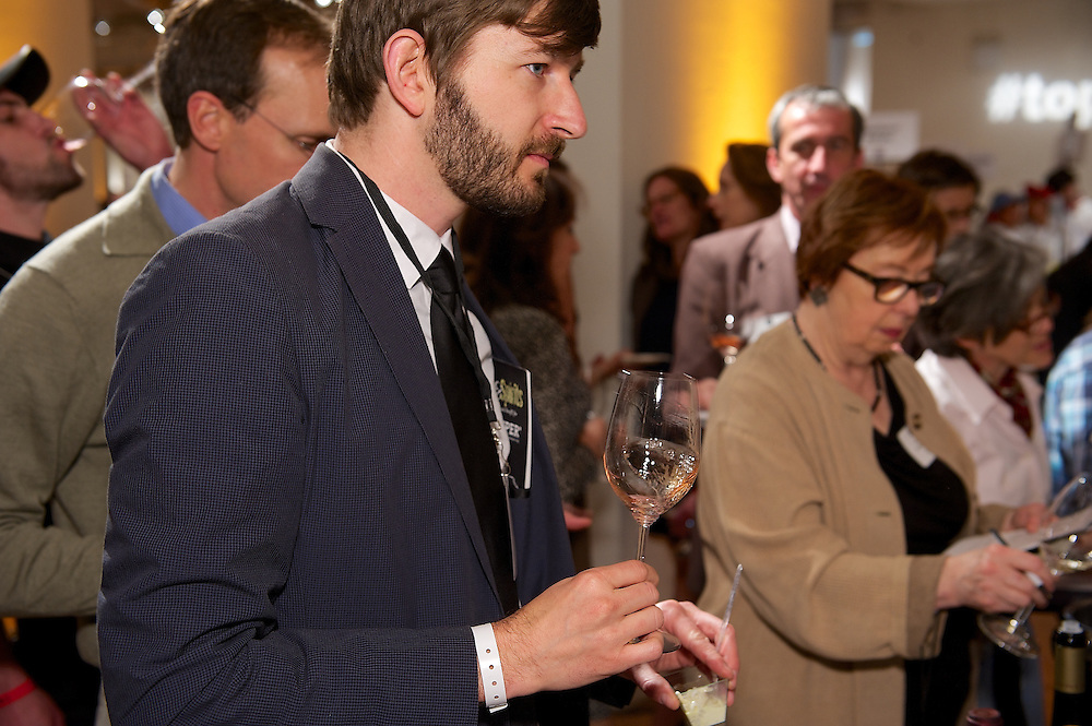 Sampling wines at a tasting event at Metropolitan Pavilion NYC.