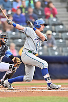 Hartford Yard Goats third baseman Ryan McMahon (13) awaits a pitch during a game against the Richmond Flying Squirrels at The Diamond on April 30, 2016 in Richmond, Virginia. The Yard Goats defeated the Flying Squirrels 5-1. (Tony Farlow/Four Seam Images)