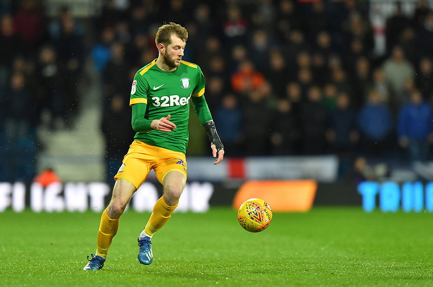 Preston North End's Tom Barkhuizen <br /> <br /> Photographer Dave Howarth/CameraSport<br /> <br /> The EFL Sky Bet Championship - West Bromwich Albion v Preston North End - Tuesday 25th February 2020 - The Hawthorns - West Bromwich<br /> <br /> World Copyright © 2020 CameraSport. All rights reserved. 43 Linden Ave. Countesthorpe. Leicester. England. LE8 5PG - Tel: +44 (0) 116 277 4147 - admin@camerasport.com - www.camerasport.com