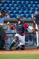 Pensacola Blue Wahoos catcher Ben Rortvedt (1) during a Southern League game against the Mobile BayBears on July 25, 2019 at Blue Wahoos Stadium in Pensacola, Florida.  Pensacola defeated Mobile 2-1 in the first game of a doubleheader.  (Mike Janes/Four Seam Images)