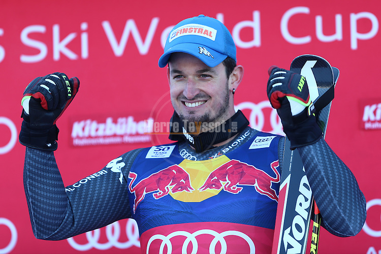 Dominik PARIS at the podium during the FIS Alpine Ski World Cup Men's Downhill in Kitzbuehel, on January 21, 2017. Italy's Dominik PARIS wins ahead of French Valentin GIRAUD MOINE, third also a French, Johan CLAREY.