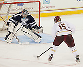 Cam Spiro (BC - 15) skates in for a successful penalty shot. - The Boston College Eagles defeated the visiting St. Francis Xavier University X-Men 8-2 in an exhibition game on Sunday, October 6, 2013, at Kelley Rink in Conte Forum in Chestnut Hill, Massachusetts.