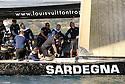 Louis Vuitton Trophy La Maddalena 22 maggio 2010. E' il primo giorno di regate. L'equipaggio di Azzurra prova la bolina in attesa della partenza di una prova