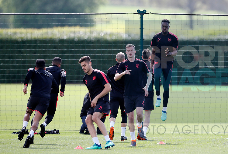 Arsenal's Danny Welbeck during the training session at the Arsenal Training Centre, London Colney. Picture date: 25th April 2018. Picture credit should read: David Klein/Sportimage