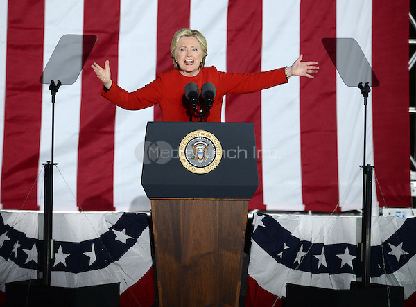 PHILADELPHIA, PA - NOVEMBER 7: Hillary Clinton at the GOTV Rally in support of Hillary Clinton for President at Independence Mall in Philadelphia, Pennsylvania on November 7, 2016. Credit: Dennis Van Tine/MediaPunch