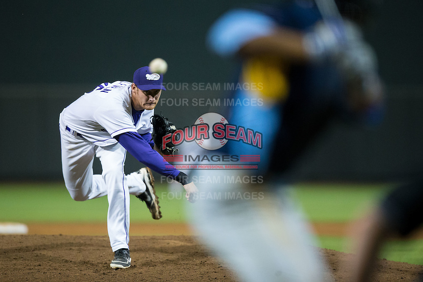 Winston-Salem Dash relief pitcher Colin Kleven (25) in action against the Myrtle Beach Pelicans at BB&T Ballpark on May 2, 2016 in Winston-Salem, North Carolina.  The Pelicans defeated the Dash 3-2 in 11 innings.  (Brian Westerholt/Four Seam Images)