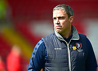 Cheltenham Town manager Michael Duff during the pre-match warm-up<br /> <br /> Photographer Andrew Vaughan/CameraSport<br /> <br /> The EFL Sky Bet League Two - Lincoln City v Cheltenham Town - Saturday 13th April 2019 - Sincil Bank - Lincoln<br /> <br /> World Copyright &copy; 2019 CameraSport. All rights reserved. 43 Linden Ave. Countesthorpe. Leicester. England. LE8 5PG - Tel: +44 (0) 116 277 4147 - admin@camerasport.com - www.camerasport.com