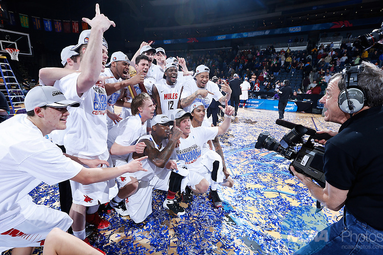 29 MAR 2014: University of Central Missouri players celebrate at the end of the game against West Liberty University during the Division II Men's Basketball Championship held at the Ford Center in Evansville, IN. Central Missouri defeated West Liberty 84-77 for the national title. Joe Robbins/NCAA Photos