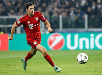 Calcio, andata degli ottavi di finale di Champions League: Juventus vs Bayern Monaco. Torino, Juventus Stadium, 23 febbraio 2016. <br /> Bayern's Robert Lewandowski in action during the Champions League round of 16 first leg soccer match between Juventus and Bayern at Turin's Juventus Stadium, 23 February 2016.<br /> UPDATE IMAGES PRESS/Isabella Bonotto