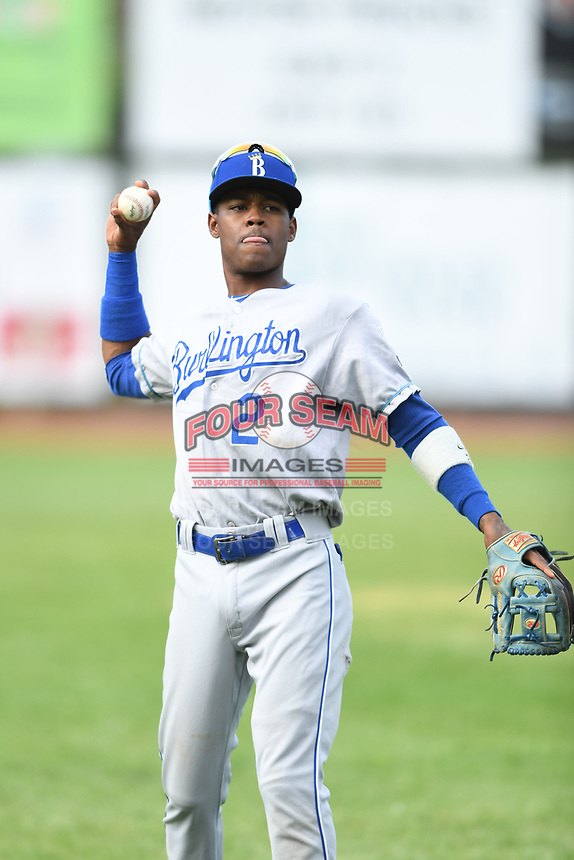 Burlington Royals shortstop Maikel Garcia (2) warms up prior to a game with the Bristol Pirates at Boyce Cox Field on June 19, 2019 in Bristol, Virginia. The Royals defeated the Pirates 1-0. (Tracy Proffitt/Four Seam Images)
