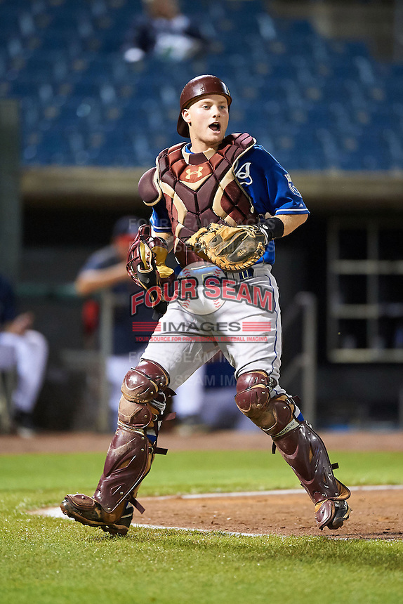Stephen Logan #36 of Muscle Shoals High School in Muscle Shoals, Alabama playing for the Kansas City Royals scout team during the East Coast Pro Showcase at Alliance Bank Stadium on August 1, 2012 in Syracuse, New York.  (Mike Janes/Four Seam Images)