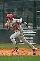 Stony Brook Seawolves outfielder Travis Jankowski #6 running the bases during a game against the East Carolina University Pirates at Clark-LeClair Stadium  on March 4, 2012 in Greenville, NC.  East Carolina defeated Stony Brook 4-3. (Robert Gurganus/Four Seam Images)