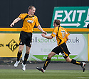 Stephen Simmons (left) celebrates after he scores Alloa's equaliser.