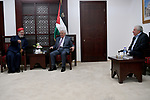Palestinian President Mahmoud Abbas meets with the Samaritan community in the West Bank city of Ramallah, on Sept. 4, 2017. Photo by Osama Falah
