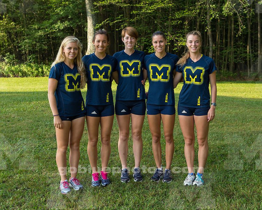 The University of Michigan women's cross country team in action at the Michigan Open at Hudson Mills Metropark in Dexter, Mich., on August 30, 2013.