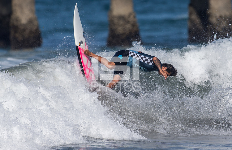 Huntington Beach, CA - Tuesday July 31, 2018: Miguel Pupo in action during a World Surf League (WSL) Qualifying Series (QS) Men's round of 96 heat at the 2018 Vans U.S. Open of Surfing on South side of the Huntington Beach pier.