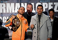 BROOKLYN - JANUARY 24: Boxers Keith Thurman and Josesito Lopez attend a press conference for the January 26 PBC on FOX fight card at Barclays Arena on January 24, 2019, in Brooklyn, New York. (Photo by Frank Micelotta/Fox Sports/PictureGroup)
