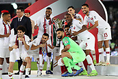 February 1st 2019; Adu Dhabi, United Arab Emirates; Asian Cup football final, Japan versus Qatar;  Players of Qatar celebrate on the podium after the final match