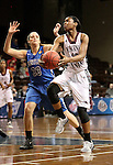SIOUX FALLS MARCH 22:  Lady Walker #20 from Virginia Union scoops a shot past Jen Gemma #33 from Bentley University during their quarterfinal game at the NCAA Women's Division II Elite 8 Tournament at the Sanford Pentagon in Sioux Falls, S.D.  (Photo by Dave Eggen/Inertia)