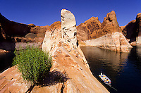 View over sirpentine floded Glen River and a motorboat in The Lake Povel water resavour behind Glen Canyon Dam, Utah, USA