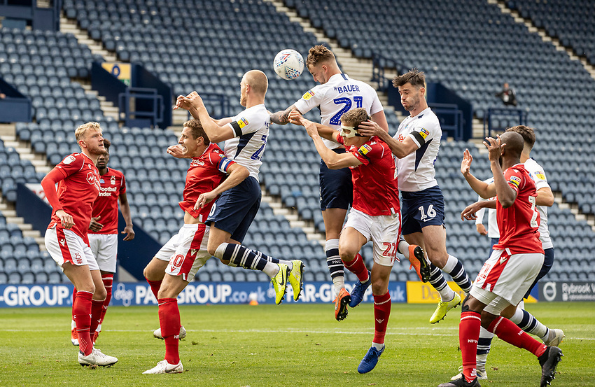 Preston North End's Patrick Bauer heads at goal <br /> <br /> Photographer Andrew Kearns/CameraSport<br /> <br /> The EFL Sky Bet Championship - Preston North End v Nottingham Forest - Saturday 11th July 2020 - Deepdale Stadium - Preston <br /> <br /> World Copyright © 2020 CameraSport. All rights reserved. 43 Linden Ave. Countesthorpe. Leicester. England. LE8 5PG - Tel: +44 (0) 116 277 4147 - admin@camerasport.com - www.camerasport.com